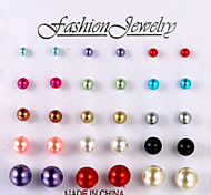 European and American fashion color bead earrings 15 pairs of size Stud Earrings Wedding/Party/Daily/Casual 1set