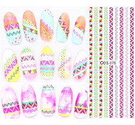 Big Page Water Transfer Printing Geometry Stripe Nail Stickers