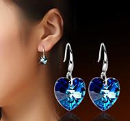 Damen Tropfen-Ohrringe Kristall Liebe versilbert Schmuck Für