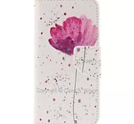 Teste padrão de flores pu material de tampa aberta a janela de couro para iphone 6s