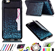 PU Leather Silicone Wallet Case Case with Kickstand Package Includes Stand Anti-dust Plug stylus for iPhone 6