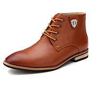 Men's Shoes Leather Office & Career / Casual / Athletic Boots Office & Career / Casual / Athletic Flat Heel Lace-up Black / Brown / Gray