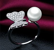 Foreign Trade Jewelry  S925 Pure Silver Ring  The Butterfly Pearl Female Ring Zircon Jewelry