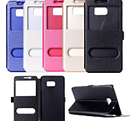 Double Opening Window Flip Cover Support Silk Grain Fashion Mobile Phone Shell for Samsung S6Edge Plus Assorted Colors