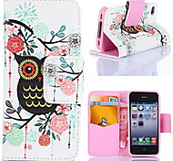 Black Owl PU Leather Full Body Cases Phone Protection Case with Stand for iPhone 4/4S