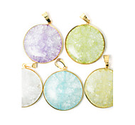 Beadia 1Pc New Fashion Jewelry Pendants 36mm Round Glass Pendants For Necklace 5 Colors U-Pick