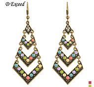 D Exceed  Lady Charm Earrings Antique Gold Plated Hollow Out  Geometric Mix Color Resin Gemstone Drop Earings Jewelry