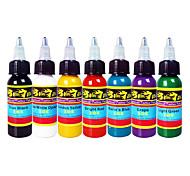 7 colores 30ml 1 oz set / botella kit pigmento del tatuaje de la tinta del tatuaje Solong