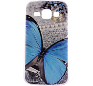 Blue Butterfly Pattern PC Hard Back Cover Case for Samsung Galaxy J1/G530/G360/G386f