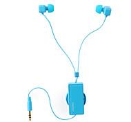 leapower retrátil fone de ouvido estéreo de 3,5 mm criativo universal de ouvido com azul clipe