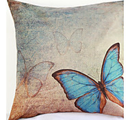 Blue Butterfly Pillowcase Sofa Home Decor Cushion Cover (17*17 inch)