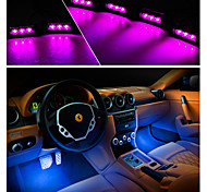 4x 3LED Car Charge 12V Glow Interior Decorative 4in1 Atmosphere Light Lamp