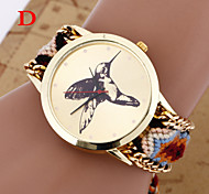 Woven Woolen Ladies Quartz Wrist Watch Hummingbird Pattern Pull Cord Bracelet Cool Watches Unique Watches