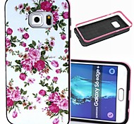2-in-1 Pink Rose Peony Pattern TPU Back Cover + PC Bumper Shockproof Soft Case For Samsung Galaxy S6 Edge Plus