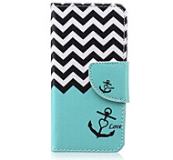 Sea Wave Pattern PU Leather Wallet Design Full Body Case with Stand for iPod Touch 5/6