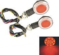 Motorcycle Round Red LED Front Rear Turn Signal Lights-(2PCS)