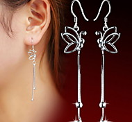 WH  Woman Butterfly Long Drop Earring
