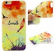lächelndes Gesicht Federn Wörter Phrase Muster 0,6 mm ultradünne weiche Tasche für Apple iPhone 6 / 6S