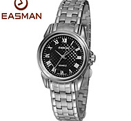 EASMAN Women's  Sapphire Vintage Dial Round Shape Silver Stainless Steel Movement Quartz Watch Wristwatch