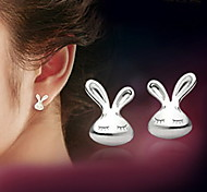 WH  Woman White Rabbit Earrings