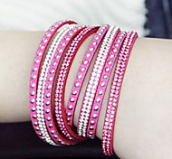 Women Pink Leather Crystal Bangle Woven Bracelet Jewelry