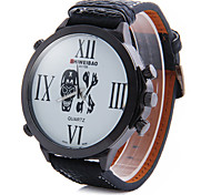 Fashionable Man Big Dial Fashion Belt Skull Quartz Watch