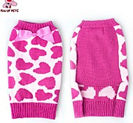 FUN OF PETS® Autumn and Winter Christmas Heart Pattern with Lovely Pink Bow Dog Sweater Dog Clothes for Pet Dogs