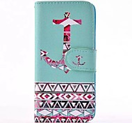 Anchor Pattern PU Leather Full Body Case with Card Slot for iPhone 4/4S