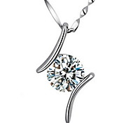 Woman Parallel Zircon Silver Pendant Necklaces
