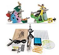 máquina de tatuagem kit completo set 2 s máquinas 10pcs kits de tatuagem de tinta de tatuagem