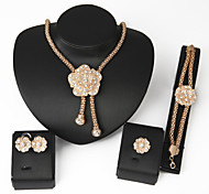 Women Wedding Jewelery Bridal Dinner Exaggerated Gold Rose Diamond Mosaic Necklace Bracelet Rings Earrings Four - piece