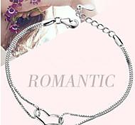 Woman Heart-shaped Crystal Pure Silver Bracelet