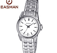EASMAN Women's Sapphire White Dial Round Shape Silver Stainless Steel Movement Quartz Wristwatch