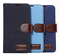 For Samsung Galaxy Case Card Holder / Wallet / with Stand / Flip Case Full Body Case Solid Color PU Leather SamsungGrand 2 / E7 / E5 /