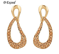D Exceed  Gold Plated Crystal Drop Earrings Elegant and Exquisite Style Anniversary Gifts for Women Branded Jewelry