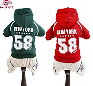 Cat / Dog Coat / Hoodie / Pants Red / Green Dog Clothes Winter Letter & Number / Stars Wedding / Cosplay