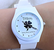 Children's Cartoon TFboys Word Watch Clover Pattern colorful Silicone Band Quartz Analog Wrist Watch Cool Watches Unique Watches