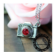 Classic Red/Withe Gem Camera Shape Pendant Necklace(1 Pc)