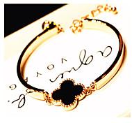 18K Golden Fashion Crystal Clover Bracelet Bangle