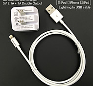UL certified Travel Wall Charge 1A/2.1A Double output + Apple MFi Certified Lightning Round cable For iPhone 6 iPad iPod