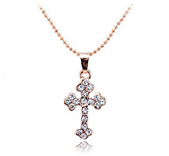 Korean Fashion Drill Cross Pendant Alloy Necklace
