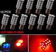 10X RED 1157 BAY15D 5050 27-SMD LED Bulbs Tail Brake Turn Light 7528 2057 1157A
