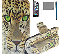 LEXY® Green Eyes Leopard Pattern PU Full Body Leather Case with Screen Protector and Stylus for iPhone 6/6S