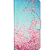 Cherry Blossoms Pattern PU Leather Case with Card Slot and Stand for Samsung Galaxy S4 mini/S3mini/S5mini/S3/S4/S5/S6