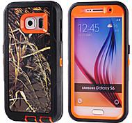 PC + TPU imprägniern Beutel Zweig camouflage stoßfestes Gehäuse eingebauten Displayschutzfolie für Samsung Galaxy S6 / S5 / S4 / S3