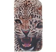 motif léopard cuir PU cas de tout le corps avec fente pour carte et support pour Samsung Galaxy noyau de Premier