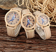 Couple's Parent-Child Cartoon Bird Khaki Wood Style PU Band Casual Quartz Watch Cool Watches Unique Watches