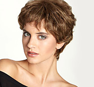 "Fashion Fluffy Short Wavy Human Hair  Monofilament Top(1"")Natural Capless Wig For Women"