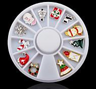 3D Alloy Christmas Design Nail Art Decoration Wheel Glitter Rhinestone