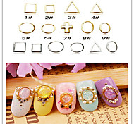 20PCS 9 Style Mixed Japan And South Korea Alloy Jewelry Gemstone Ring Two Color